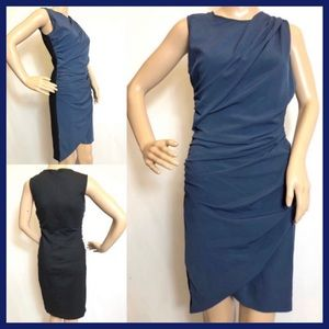 DENNY ROSE BLUE RUCHED GATHERED BODY CON DRESS M